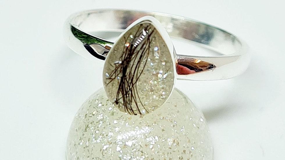 Teardrop shaped memorial ring