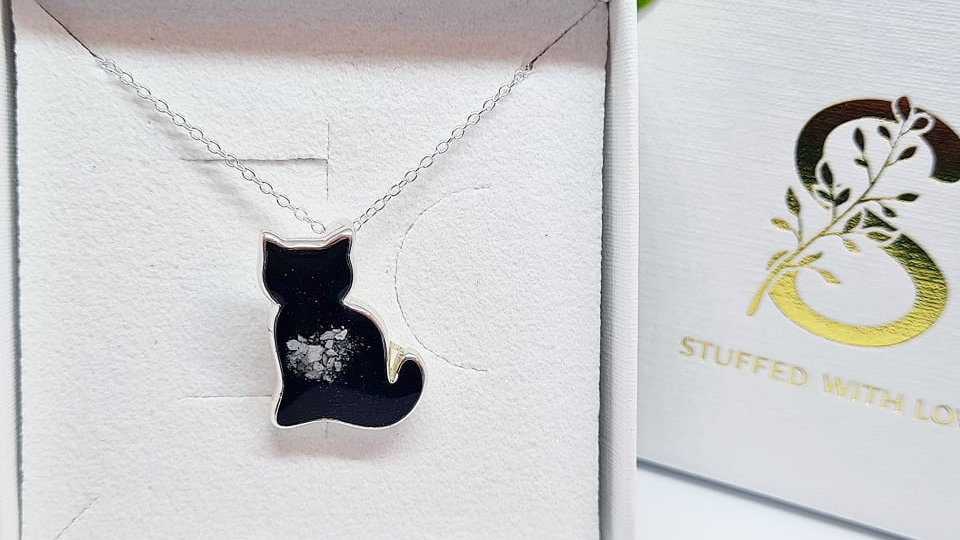 Cat shaped memorial necklace