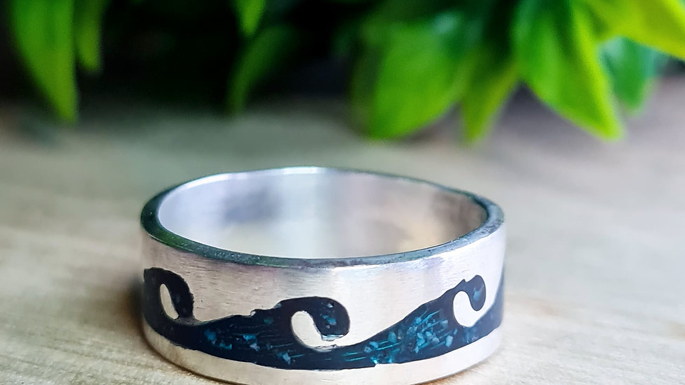 Sterling silver 6mm wave memorial ring