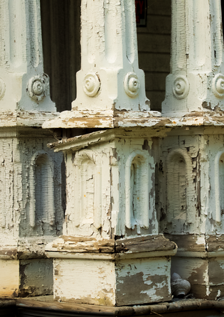 Old columns in an abandoned house