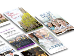 Various design including digital magazines, advertising, messaging, and appeals