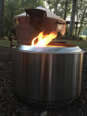 The Tsali offers the famous Solo Stove for small campfires directly on the deck for those who don't wish to share the larger community fire pit.