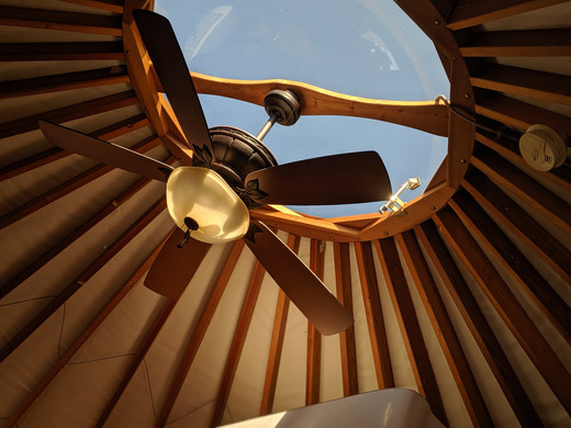 The overhead dome allows stargazing at night from the comfort of your bed.