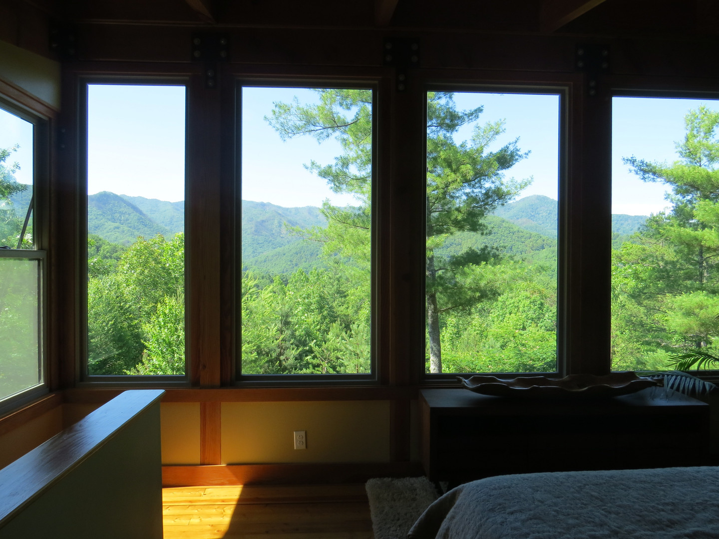 The view from the king bed in the upstairs sleeping area is beyond impressive.