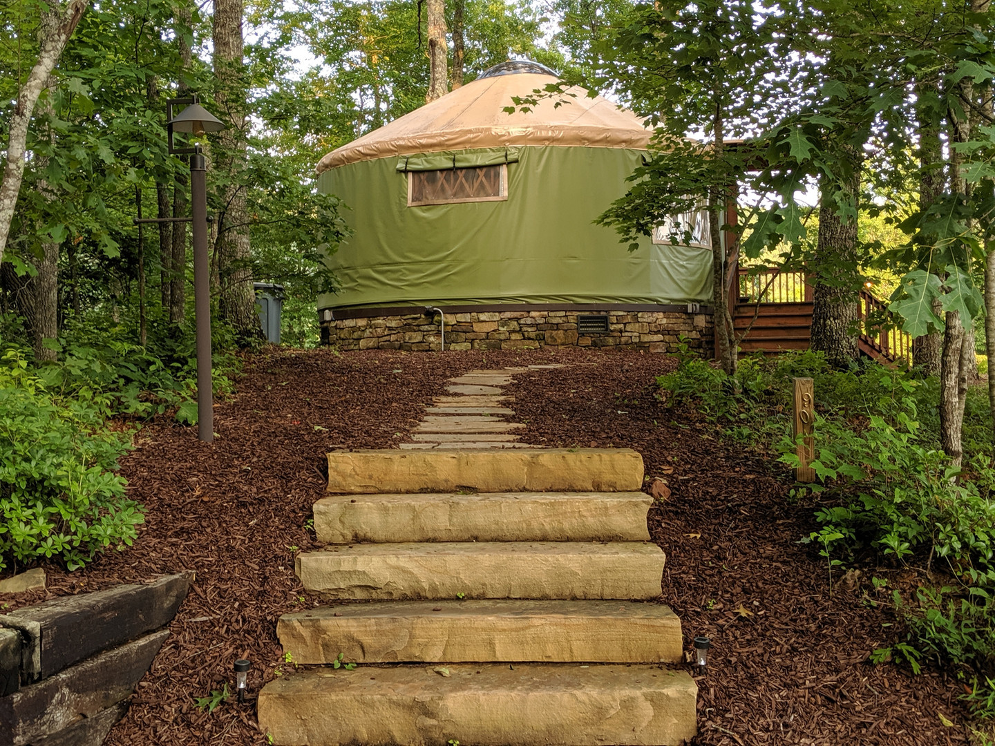 The Cherokee sits highest of all the yurts on the Ridge, and has one of the best views of the expansive Nantahala Gorge.