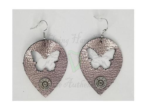 2mm Leather Butterfly Dangle Earrings