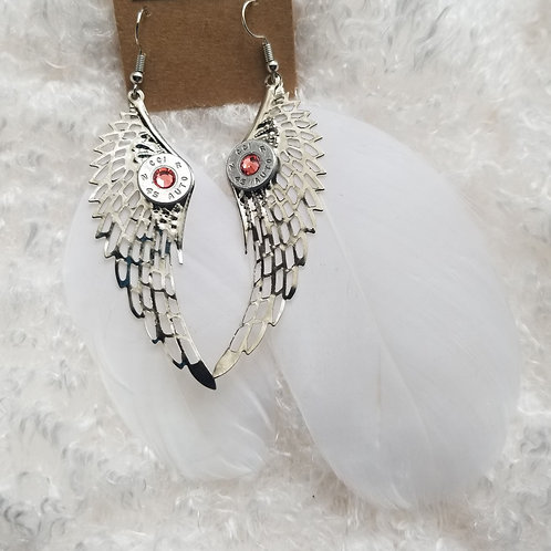 45 Auto Feather Earrings coral crystal