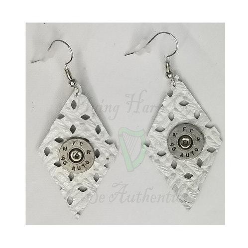 .45 Auto White Leather Diamond Dangle Earrings