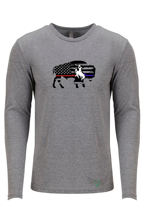 Bucking Horse & Rider Bison EKG Long Sleeve shirt
