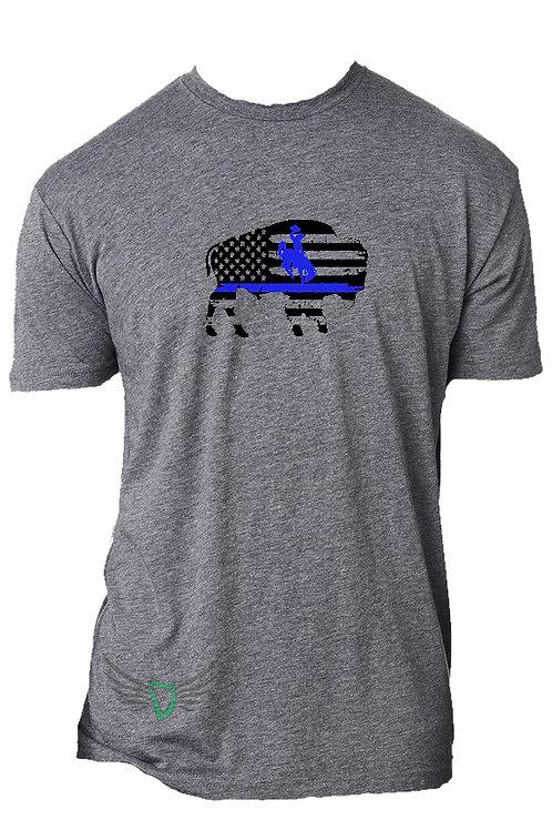 Bucking Horse & Rider Bison Blue Line T-shirt