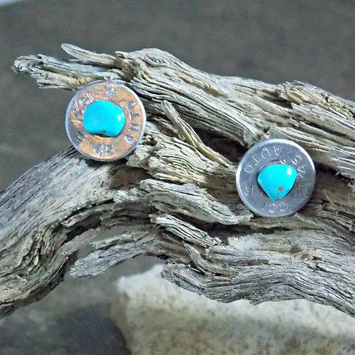 .45 Auto Howlite Turquoise Post Earrings