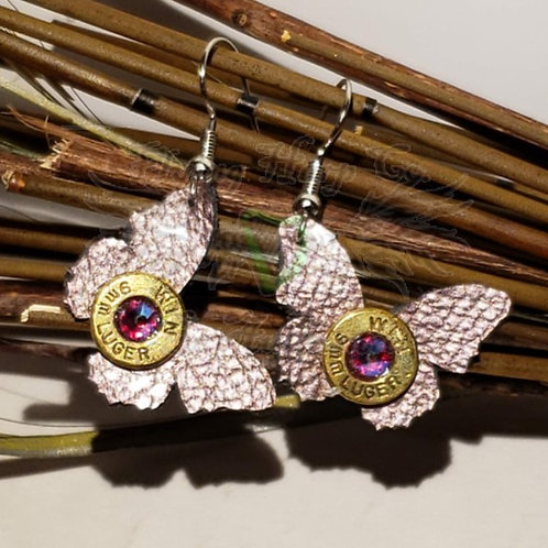 2mm Leather Butterfly Dangle Earrings