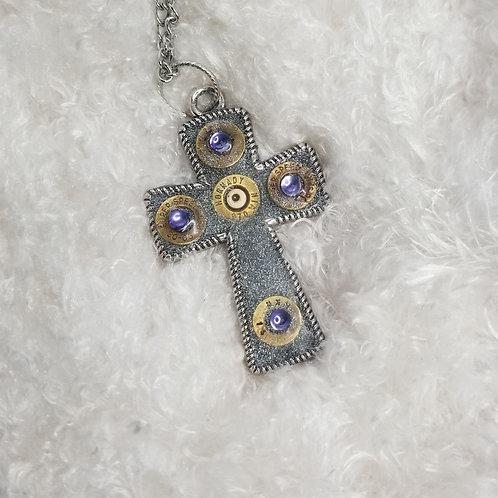 Rifle caliber cross glitter necklace