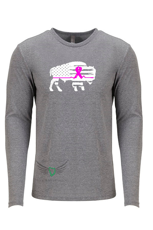 Breast Cancer Bison EKG Long Sleeve