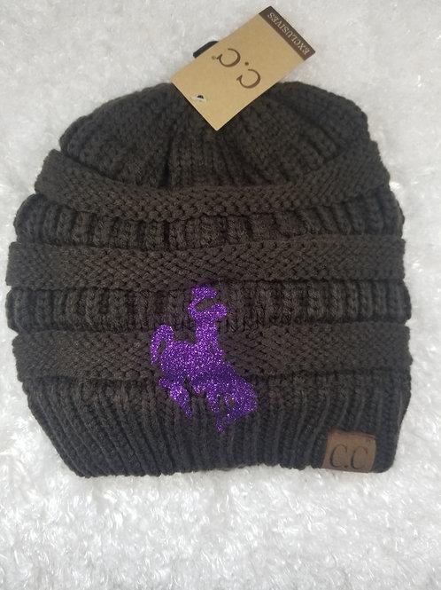 Purple Bucking Horse & Rider on a Brown C.C. Beanie