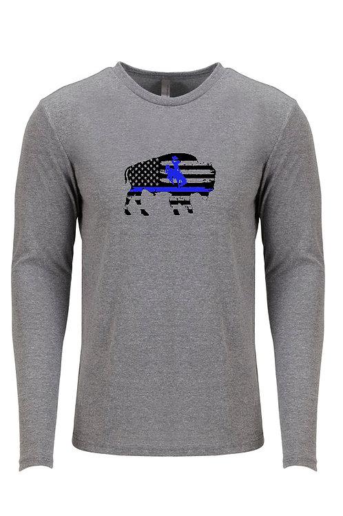 Bucking Horse & Rider Bison Blue Line Long Sleeve shirt
