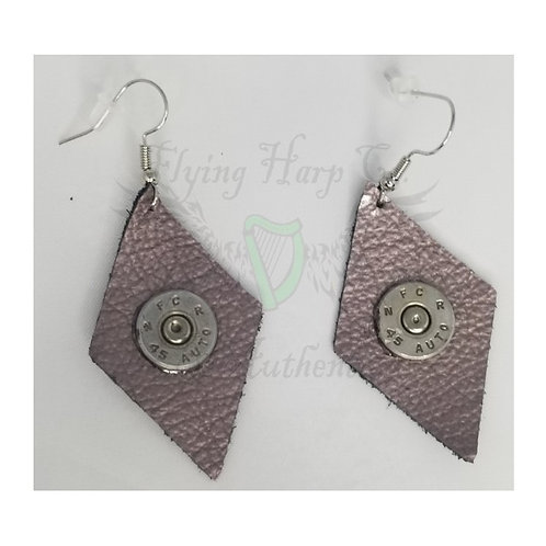 .45 Auto Leather Diamond Dangle Earrings