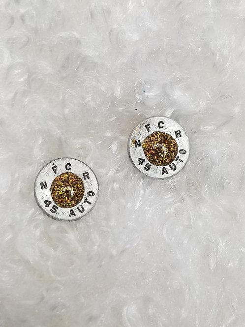 45 auto glitter gold post earrings