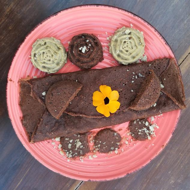 Chocolats de cupuaçu et cacao, crêpe au chocolat