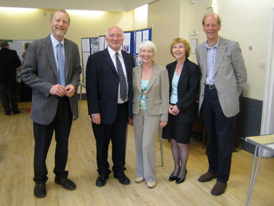 Steve Pardoe (Vice-Chairman, Acton Bridge Parish Council); Mike Hall MP; Veronica Oliver ; Mr Hall's Agent ; and Peter Young (ABCA Treasurer) (photo by Rosemary Mullett)