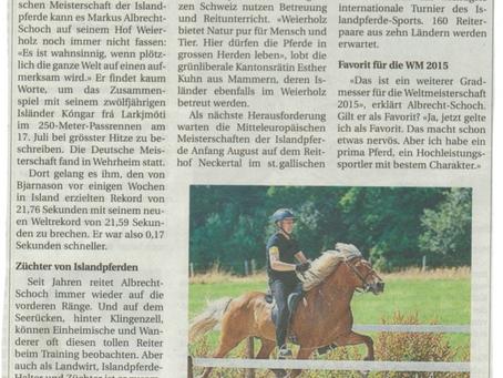 Artikel der Pferde Woche über die MEM 2014