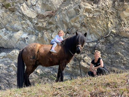 Zwei herzige Fotos von Baetir und seinen stolzen Reiterinnen.