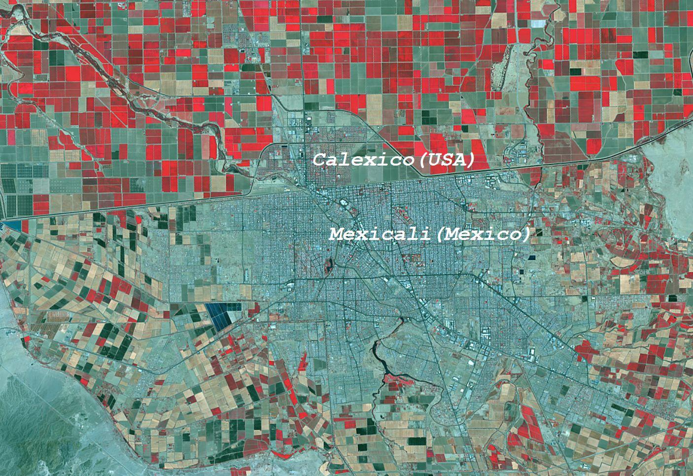 Frontera Calexico (EEUU) y Mexicali