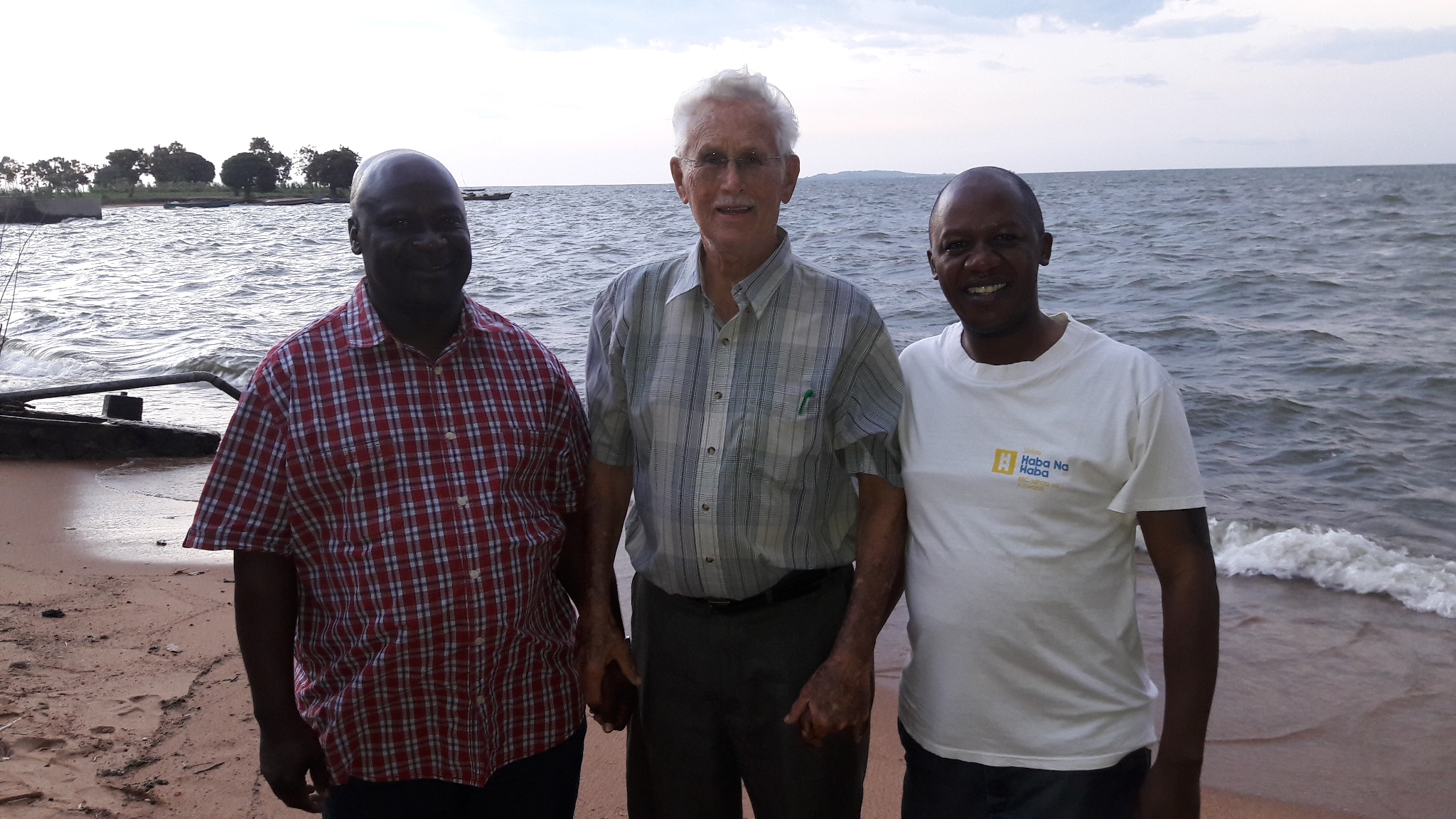Father Paul with others at Lake Victoria in Mwanza at Retreat
