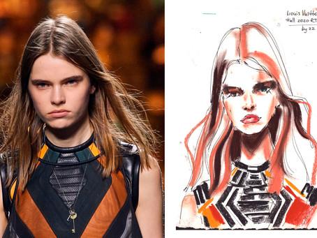 Paris FW Louis Vuitton Fall 2020 RTW seen through the eyes of a fashion illustrator