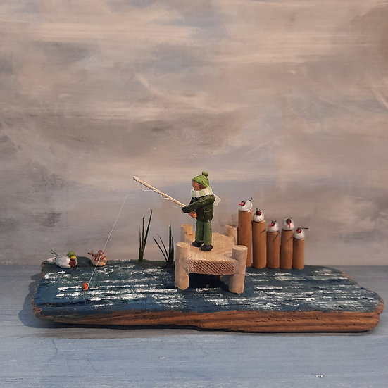 Fisherman 2 (ever feelyou're being watched)              11cm(h)x17cm(w)x10cm(d)