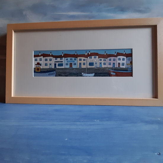 "Three Ships and a Boat (original acrylic on paper, framed and signed)  17""x9"""