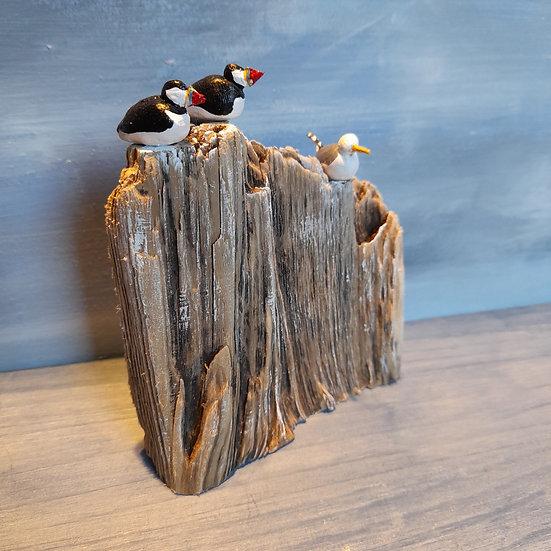 Puffins and Gull          12cm(h)x10cm(w)x3cm(d)