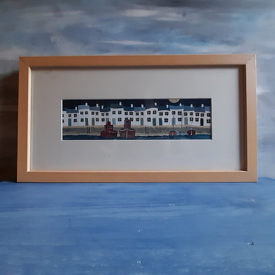 "The Quay at Night (original acrylic on paper, framed and signed) 17""x9"""