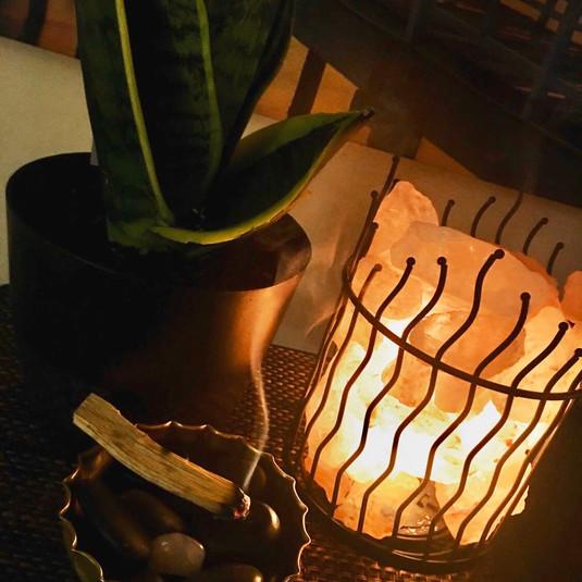 Palo Santo and Salt Lamp