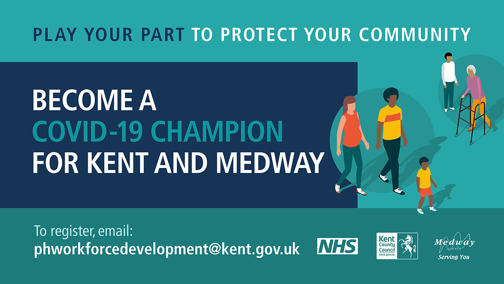 Graphic poster with Become a Covid-19 champion for Kent and Medway