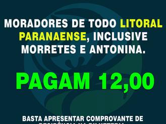 Moradores do Litoral do Paraná, inclusive Morretes e Antonina, TEM DESCONTO