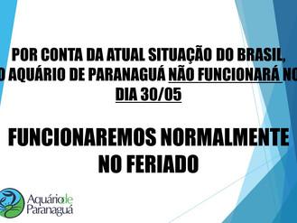 AQUÁRIO FECHADO POR CONTA DA GREVE DIA 30/05
