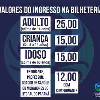 Valores dos ingressos