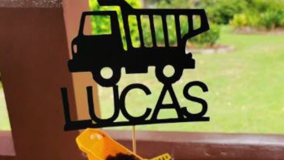 Personalised Dump Truck Cake topper