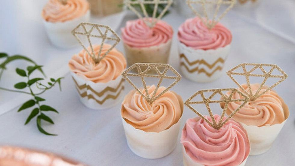 Glitter Diamond Cupcake Toppers