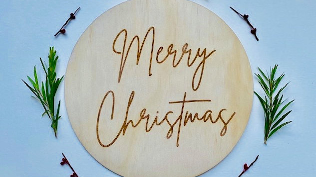 Merry Christmas Etched Wooden Sign