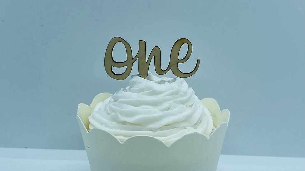 Wooden Number One Cupcake Toppers