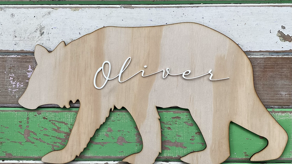 Personalised Wooden Bear Sign