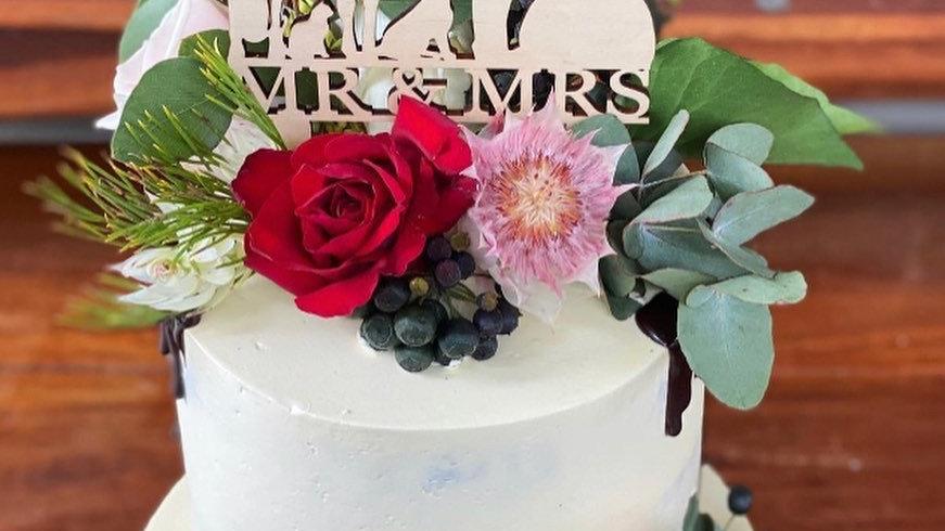 Wooden Mr & Mrs Cake Topper