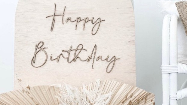Happy Birthday Wooden Arch Sign