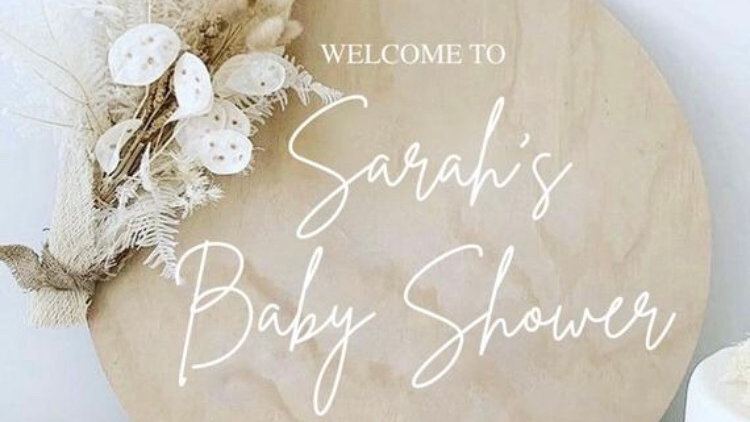 Personalised Baby Shower Wooden Sign