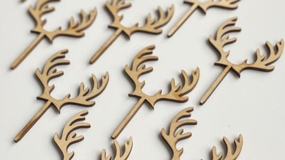 Little Wooden Antler Cupcake Toppers