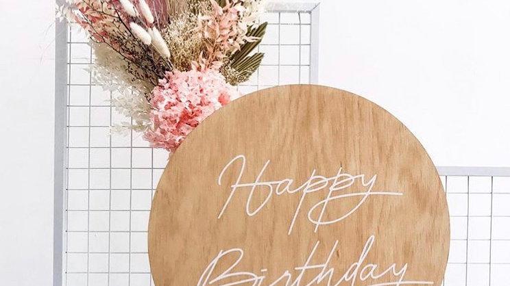 'Happy Birthday' Round Wooden Sign