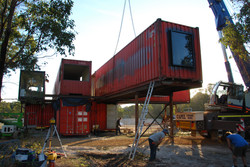Lanigan Architects - Kaloorup Shipping Container Home - under construction - raw containers in place