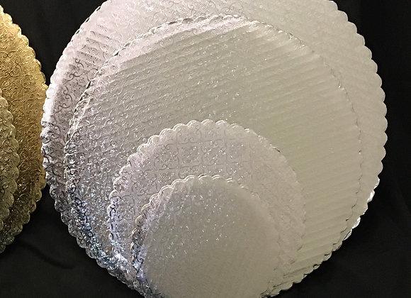 Silver Scalloped Cake Circles
